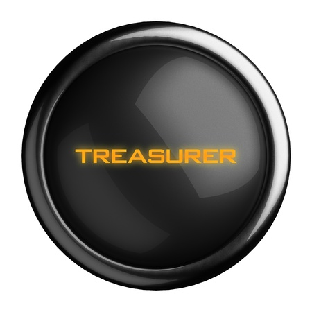 treasurer: Word on black button