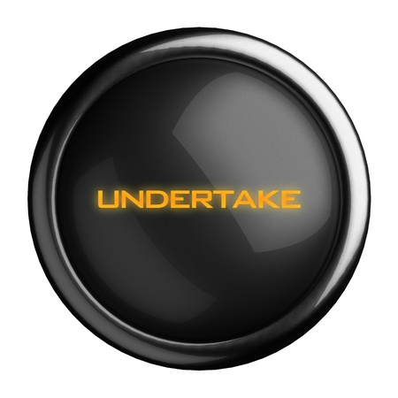 undertake: Word on black button
