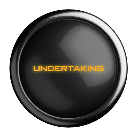 undertaking: Word on black button