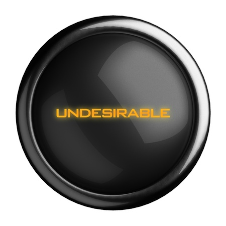undesirable: Word on black button
