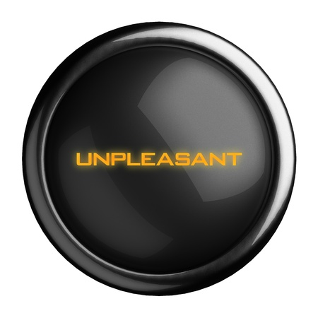 unpleasant: Word on black button