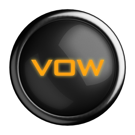 vow: Word on black button