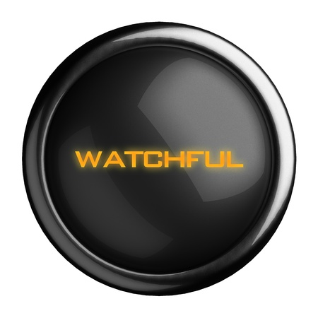 watchful: Word on black button