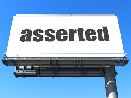 asserted: word on billboard
