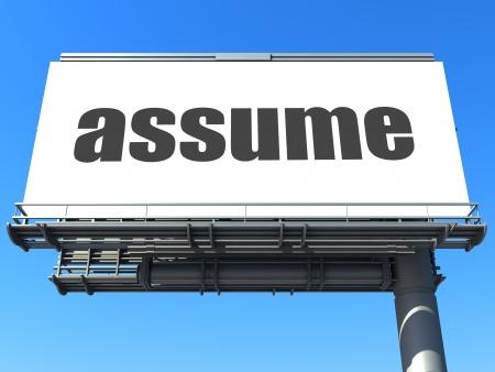 assume: word on billboard