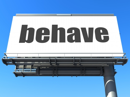 behave: word on billboard