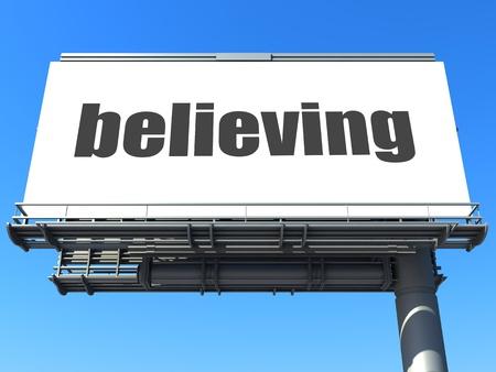 believing: word on billboard