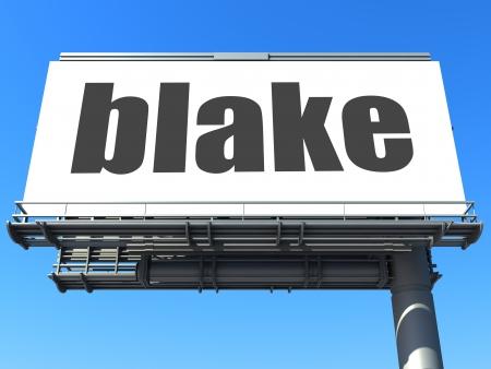 blake and white: word on billboard