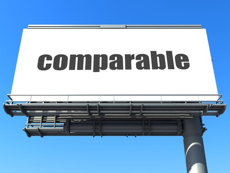 comparable: word on billboard
