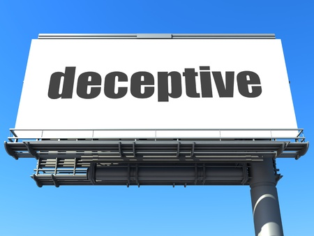 deceptive: woord op billboard Stockfoto