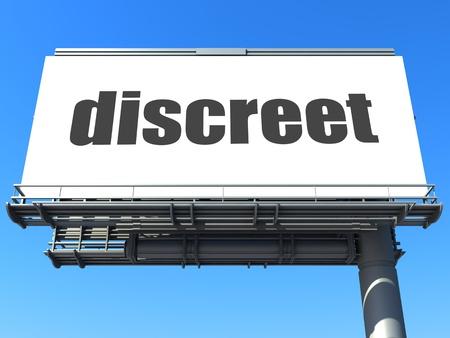 discreto: palabra en la cartelera Foto de archivo