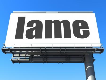 lame: word on billboard