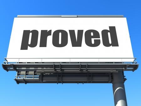 proved: parola sul cartellone Archivio Fotografico
