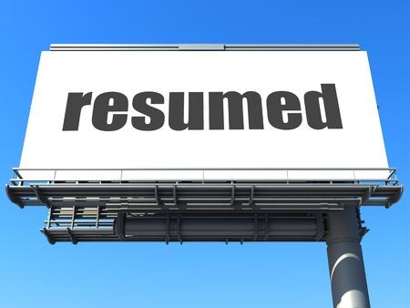 resumed: word on billboard