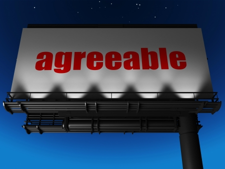 agreeable: word on billboard