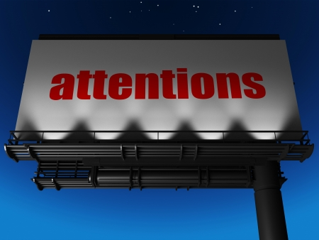 attentions: word on billboard