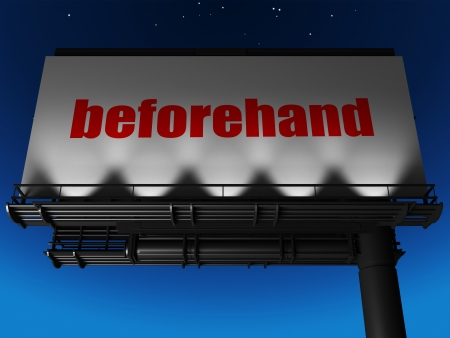 beforehand: word on billboard