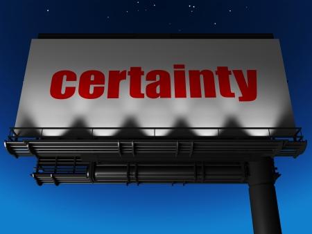 certainty: word on billboard