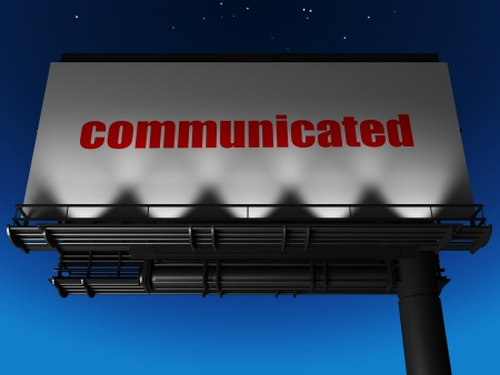 communicated: word on billboard