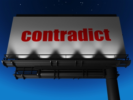 contradict: word on billboard