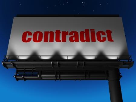contradict: word on billboard