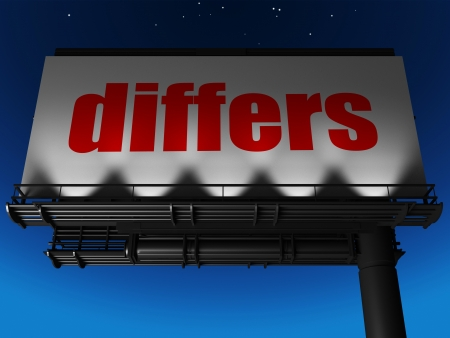 differs: word on billboard