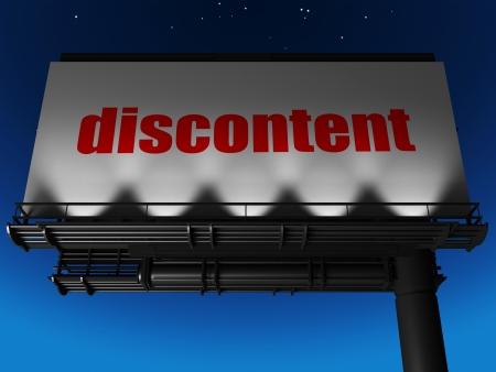 discontent: word on billboard