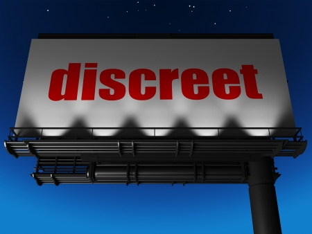 discreet: word on billboard