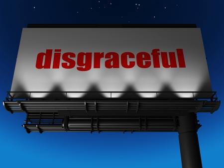 disgraceful: word on billboard