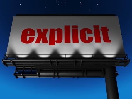 esplicito: parola sul cartellone Archivio Fotografico