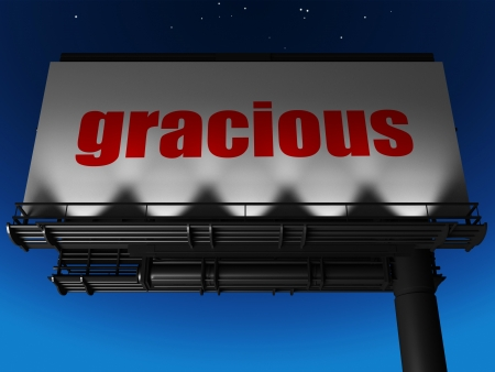 gracious: word on billboard