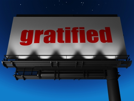 gratified: word on billboard