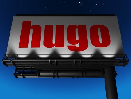 hugo: word on billboard