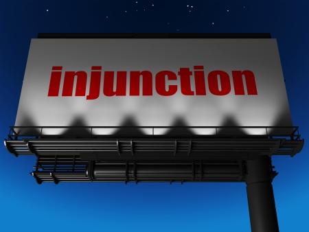 injunction: word on billboard