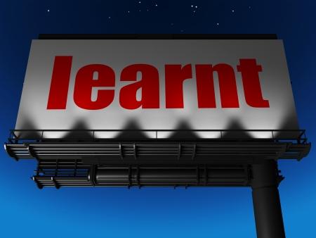learnt: word on billboard