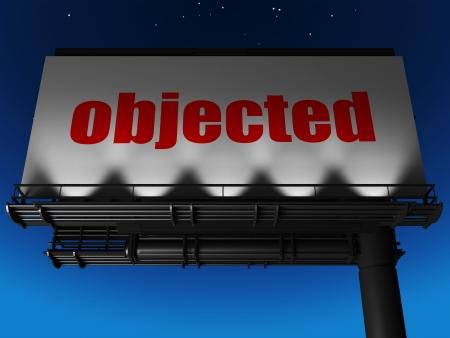 objected: word on billboard