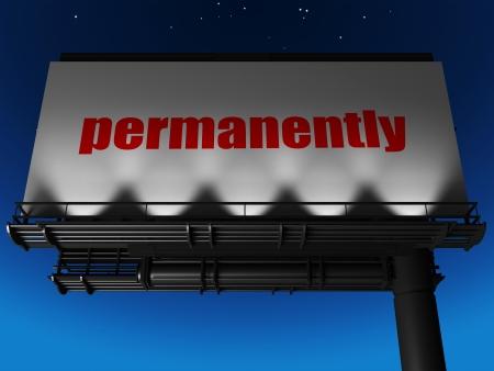 Permanent: woord op billboard Stockfoto