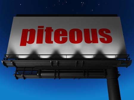 piteous: word on billboard