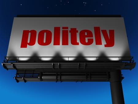 politely: word on billboard