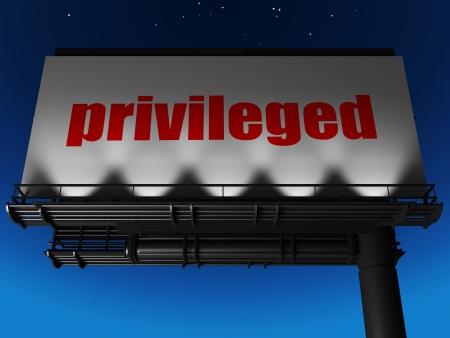 privileged: word on billboard