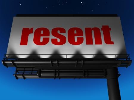 resent: word on billboard