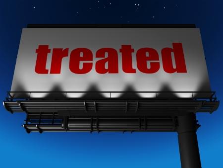 treated board: word on billboard