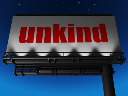 unkind: word on billboard