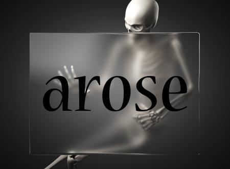 arose: word on glass billboard
