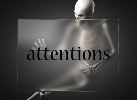 attentions: word on glass billboard