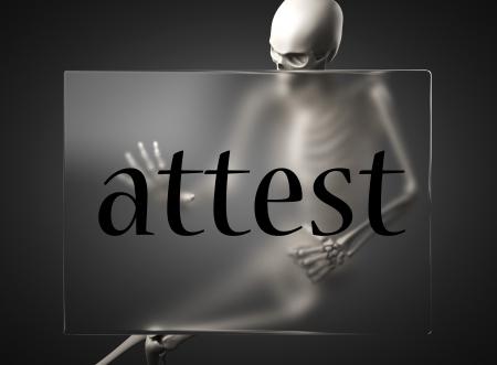 attest: word on glass billboard