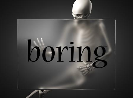 boring frame: word on glass billboard