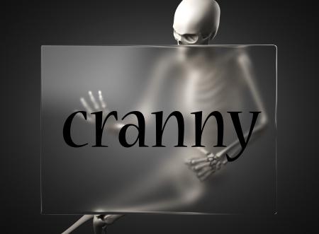 cranny: word on glass billboard