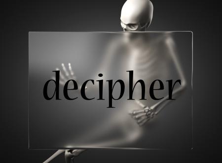 decipher: word on glass billboard