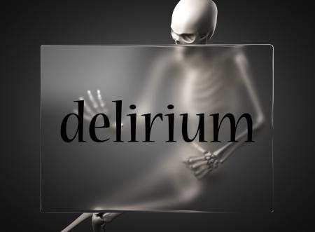 delirium: word on glass billboard